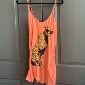 Wildfox Cool Cheetah Orange Tunic Tank Top S